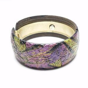 Black Purple Green Gold Artistic Clamper Bracelet